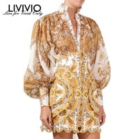 [LIVIVIO] Vintage Print Blouse For Women Stand Collar Lantern Sleeve Big Size Shirt Female Fashion Clothes 2019 Summer New