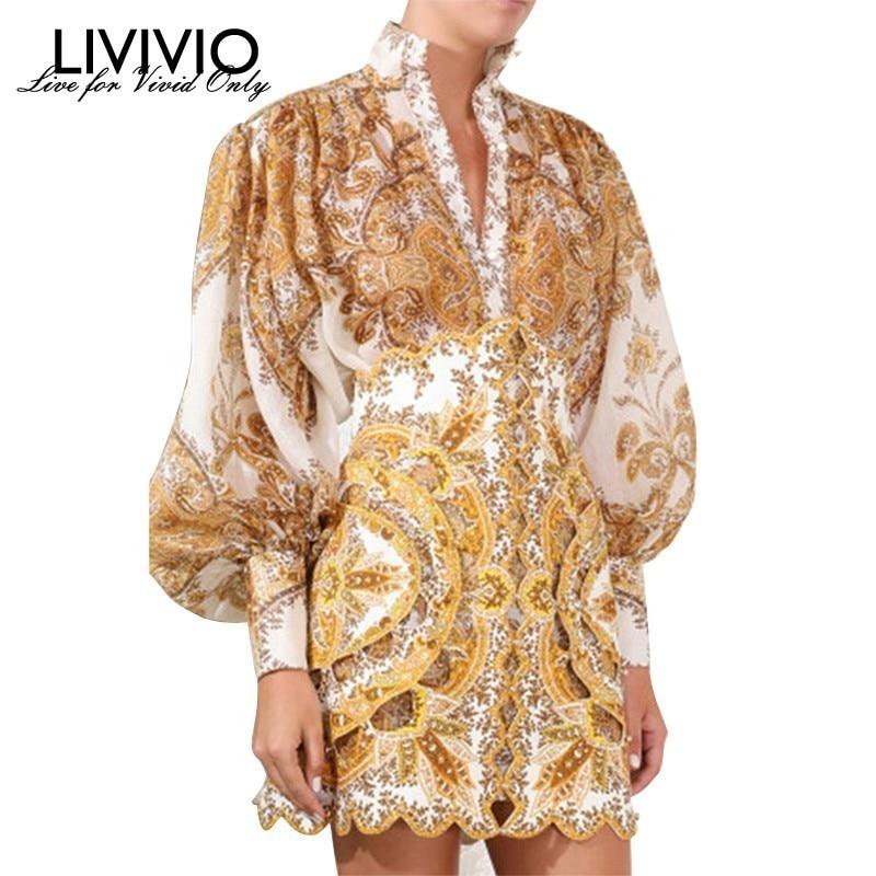 [LIVIVIO] Vintage imprimer Blouse pour les femmes col montant lanterne manches grande taille chemise femme mode vêtements 2019 été nouveau