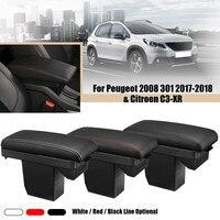 Leather Car Central Armrest Arm Rest Storage Box Case With 3USB For Peugeot 2008 301 2017 2018 for Citroen Elysee C3 XR