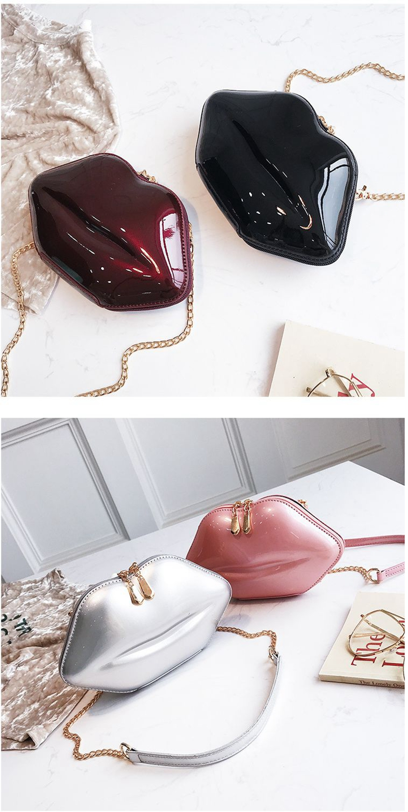 19c328bd3a155 Women Red Lips Clutch Bag High Quality Ladies Patent PU Leather ...