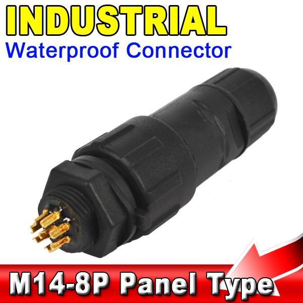 Kebidu Durable M-14 8P 8 Pin IP68 Waterproof Connector Adapter 8Pin Industrial Panel Mount Wire Connector Plug