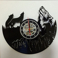 2019 Clock Wall Klok Free Shipping Hollow Vinyl Wolf Totem Rubber Record Clock Unique Personality Home Decoration Retro Gift
