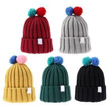 Фотография Winter Autumn Kid Baby Boys Girls Warm Hat Double Hair Balls Knitted Cap Thickened Fleece Fashion Soft  Hat Clothing Accessories