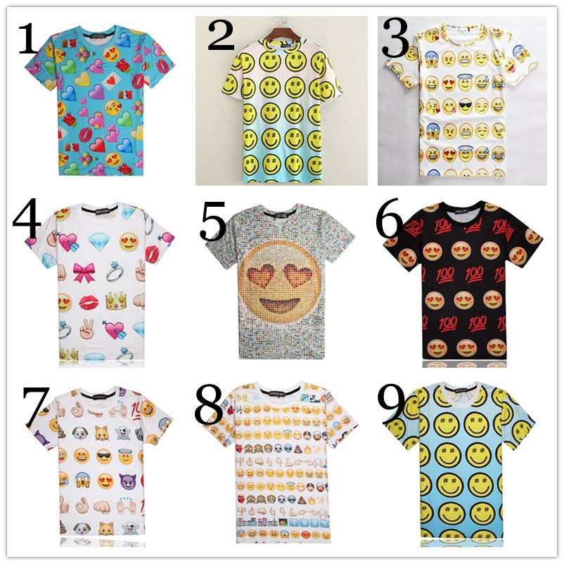 Women Men Print 3D Emoji Emoticons Summer T shirts Smiley