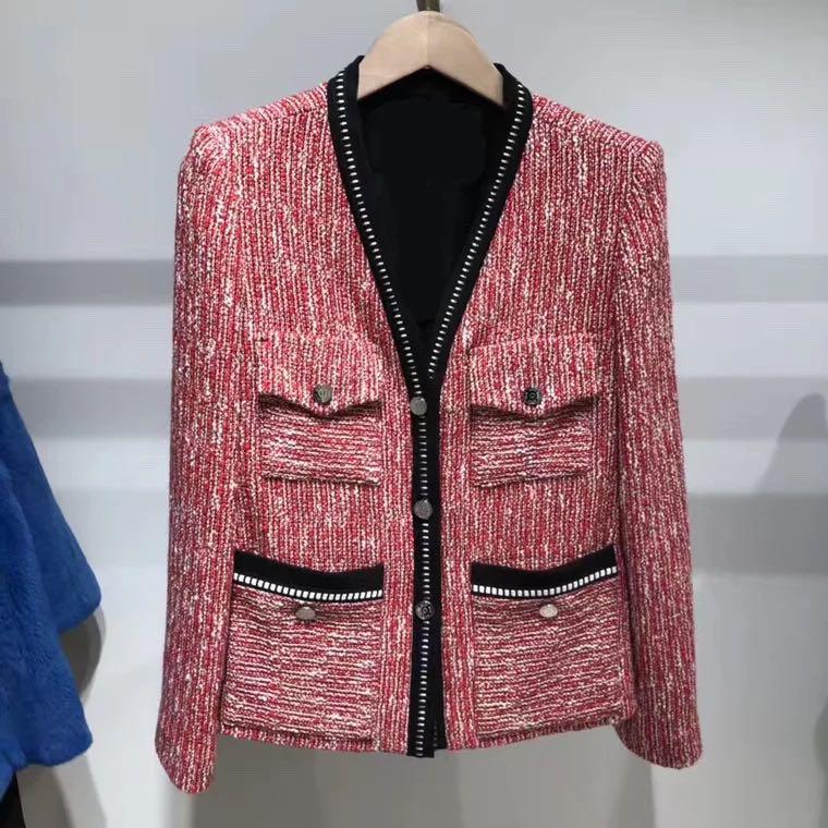 KENVY Marke mode frauen high end luxus frühling elegante casual wilden V ausschnitt Mit langen ärmeln Baumwolle jacke Mantel top-in Basic Jacken aus Damenbekleidung bei  Gruppe 1