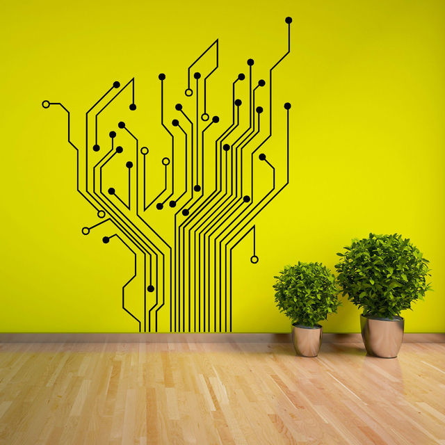 D257 CIRCUIT TREE contempory wall art sticker decal The decor for ...