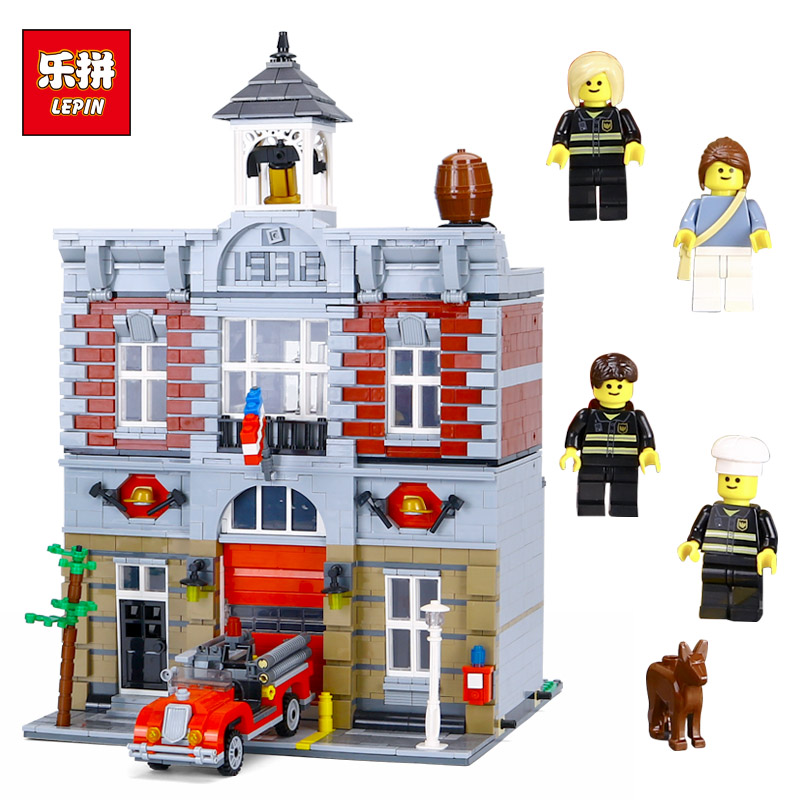 Lepin 15004 City Fire Brigade House Building Kits Assembling Blocks Compatible with Lego 10197 Educational Gift Funny Toy электрическая плита hansa fcew 53001