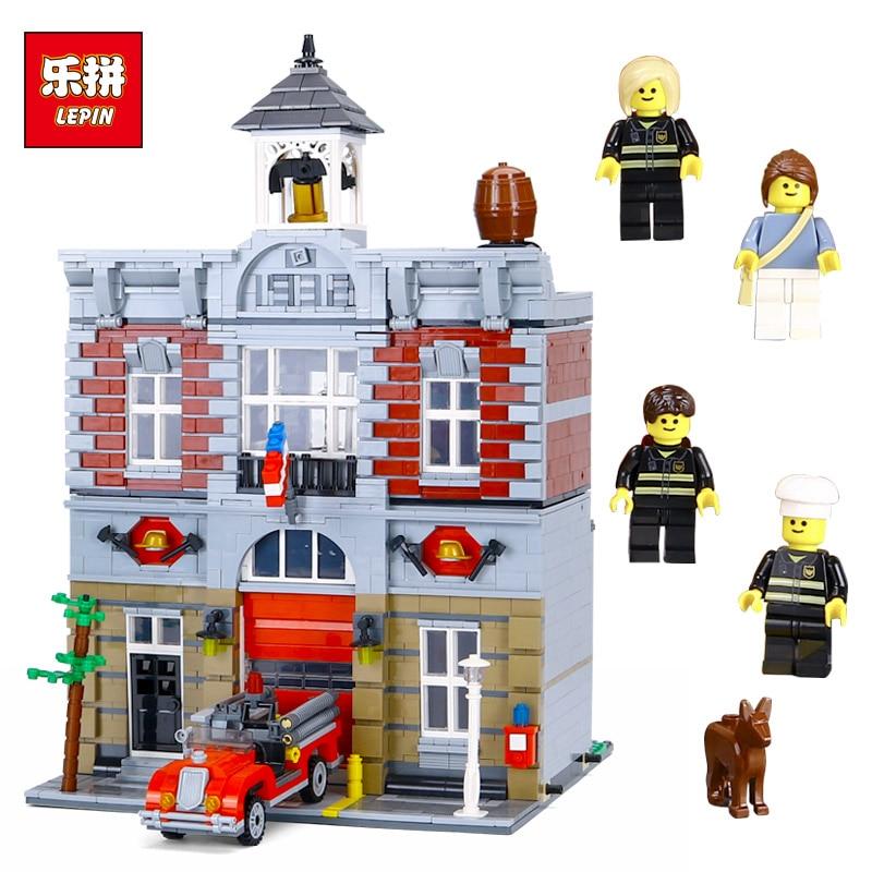 Lepin 15004 City Fire Brigade House Building Kits Assembling Blocks Compatible with Lego 10197 Educational Gift Funny Toy набор поводков atemi с крючком 4 цвет зеленый 2 шт 605 20404