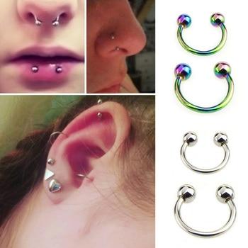 Fake Piercing Nose Septum Ring Lip Nipple Eyebrow Rings Hoop Horseshoe Earrings Piercings Women Men Body Hip Hop Jewelry embroidery