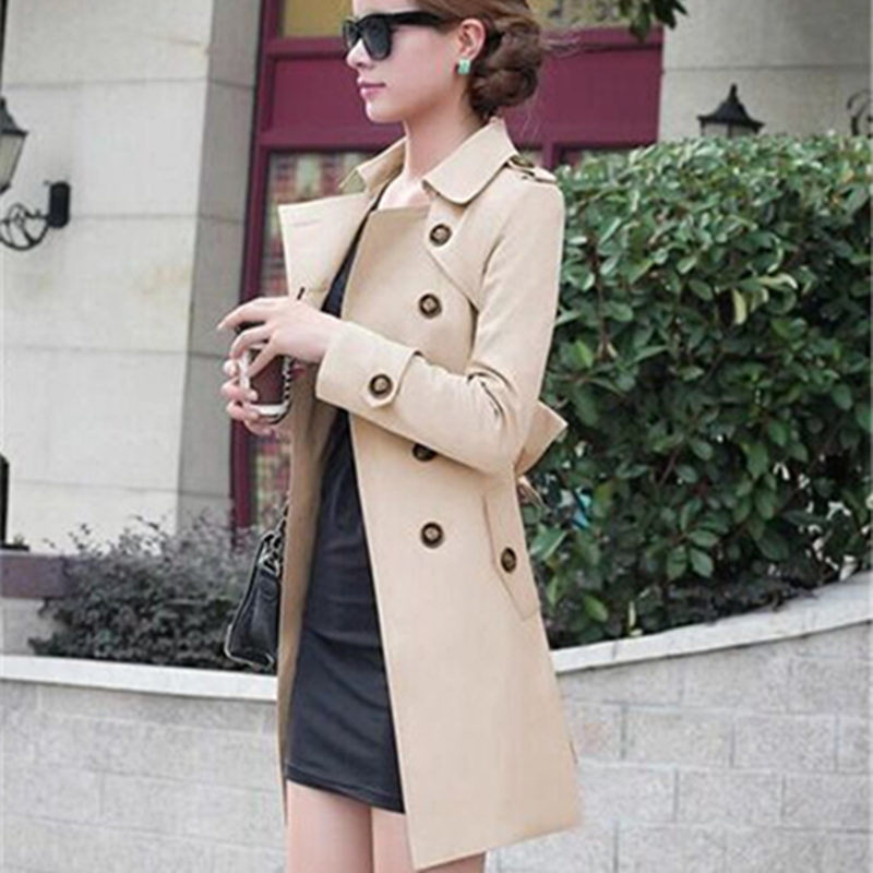 2018 New Fashion Hot Sale Women Slim Charm Double Breasted Female Long   Trench   Turn Down Collar Solid Pattern   Trench