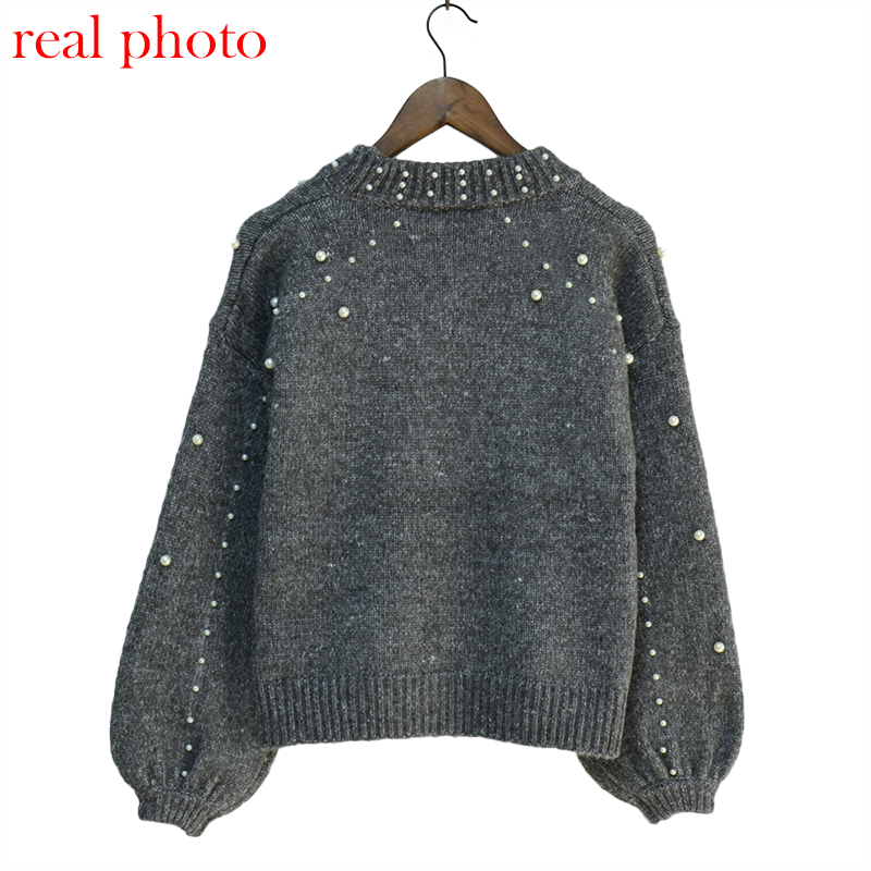 Simenual Autumn winter 18 women sweaters and pullovers bead lantern sleeve knitted sweater pullover female grey slim jumpers 14