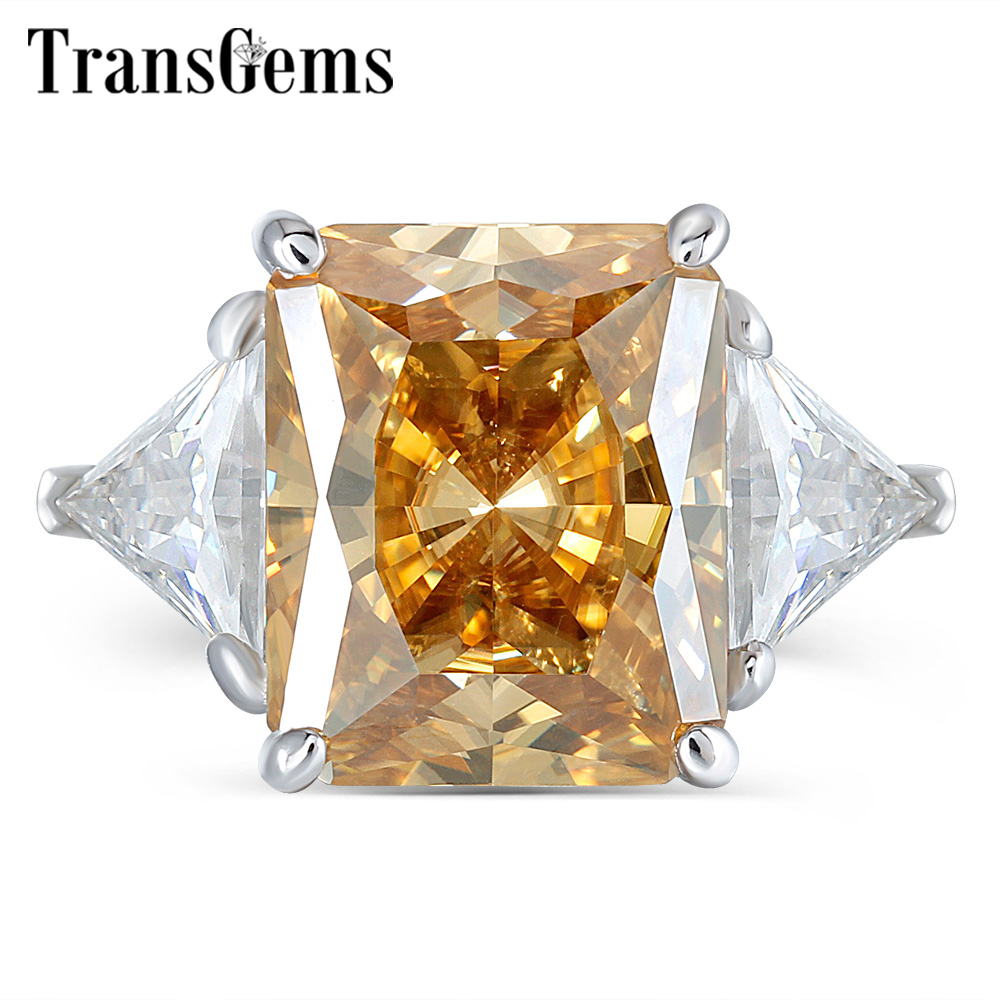TransGems 14 k สีขาวทอง 4.5ct 9X11mm สีเหลือง Radiant Cut Moissanite 2 ชิ้นสามเหลี่ยม FG สีหินหมั้นแหวน-ใน ห่วง จาก อัญมณีและเครื่องประดับ บน   1