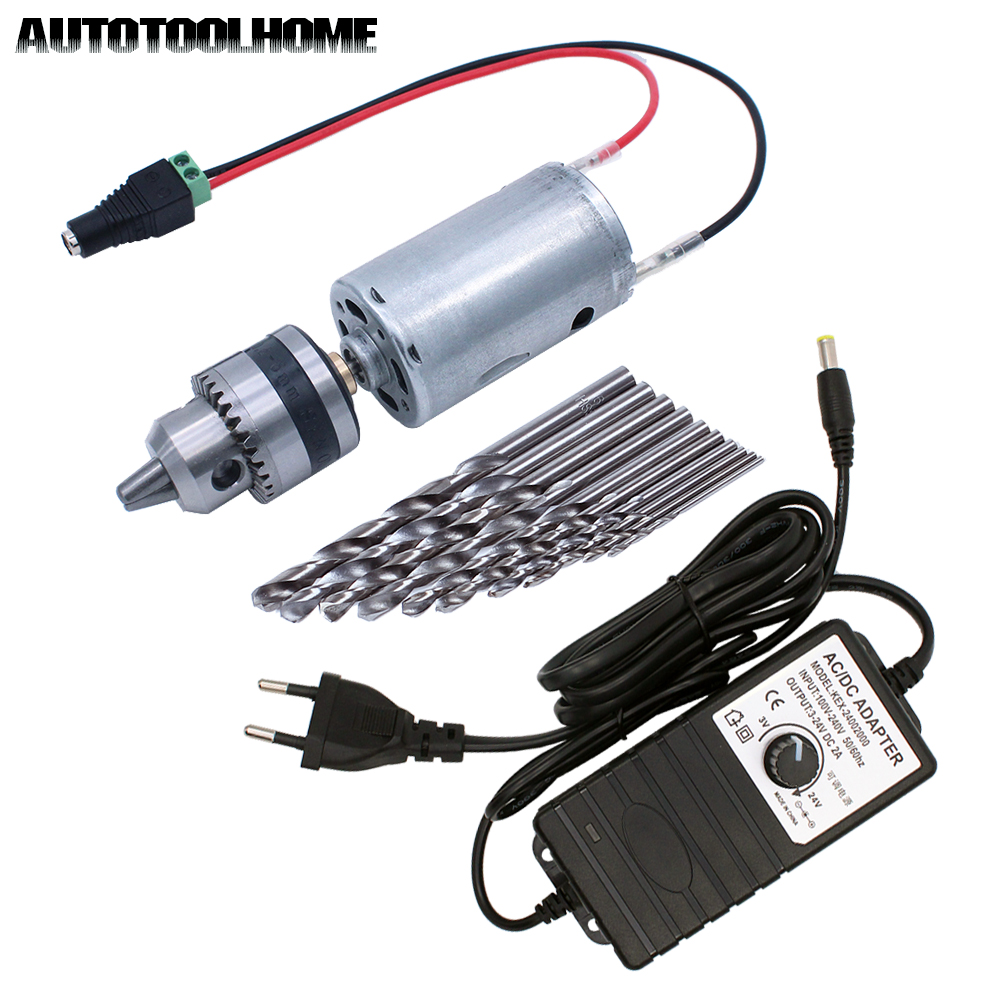 Mini Electric Hand Drill DC Motor 3-24V 2A Adjustable Power Supply 0.6-6mm B10 Drill Chuck With Twist Drill Bits Set EU/US Plug