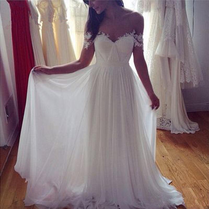 Boho Backless Wedding Dresses Sleeveless Lace Appliques 2020 Off the Shoulder Bridal Gowns Sweep Train Vestido De Noiva