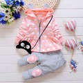 2016 Spring New Kids girls suit set Korean version of casual cotton hooded jacket + pants two suits baby / newborn clothing suit