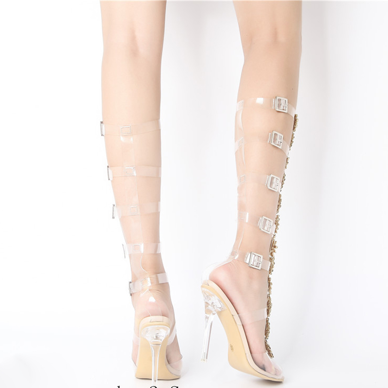 2018 Sexy Pvc Transparent Shoes Woman Peep Toe T-strap Rhinestone Diamond  Clear High Heels. sku  32878380093 e4c44ffb8c28