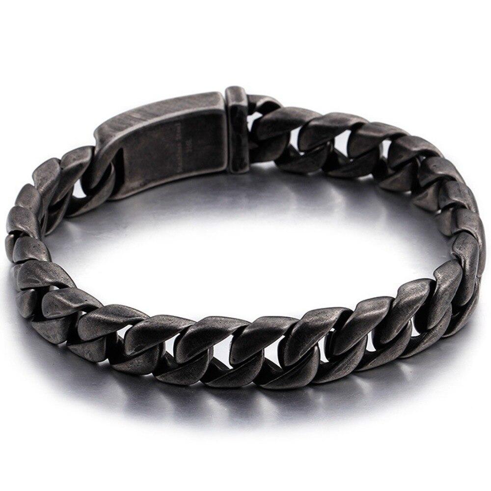13mm Punk 316L Stainless Steel Black Brushed Miami Cuban Curb Chain Biker Jewelry Men's Unisex's Bracelet Bangle 8.66″ Xmas Gift