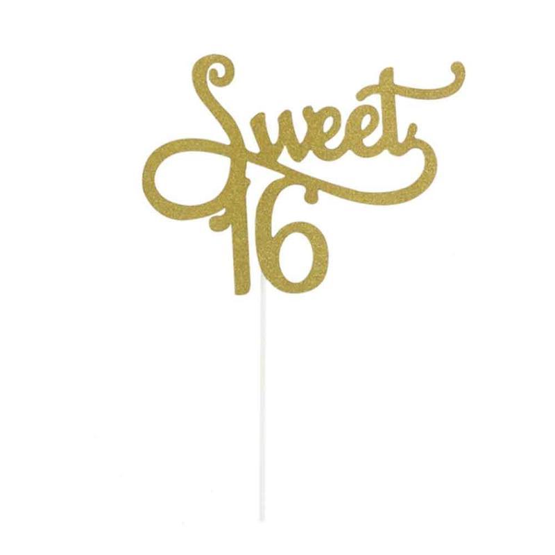 221c601014ea3 Dropwow Gold Glitter Sweet Sixteen 16 Number Cake Topper 16th ...