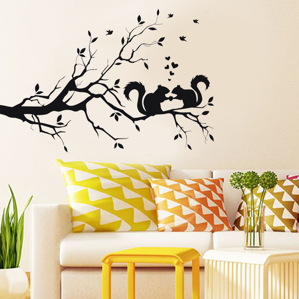 wall stickers Squirrel On Long Tree Branch Wall Sticker Animals Cats ...