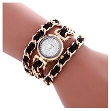 Fulaida envolver em torno de relógio de couro trançado para as mulheres quartz alloy cadeia de cristal elegance black watch brown