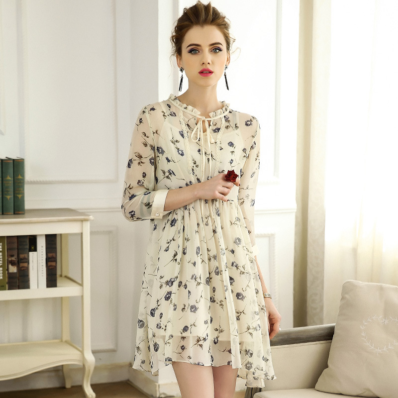 High quality 2018 NEW spring summer stand collar chiffon dress temperament bow tie A word stringy selvedge women vestidos