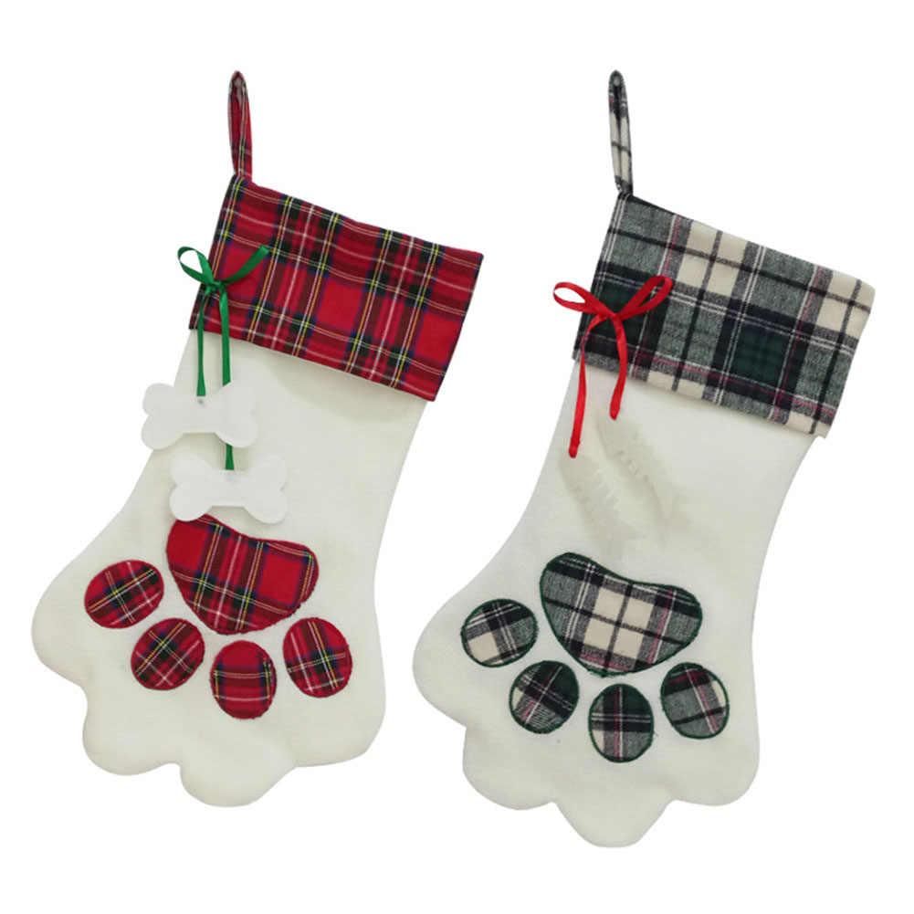 Рождественский чулок с принтом в виде рождественской елки, Подарочная сумка для конфет, вечерние висячие украшения