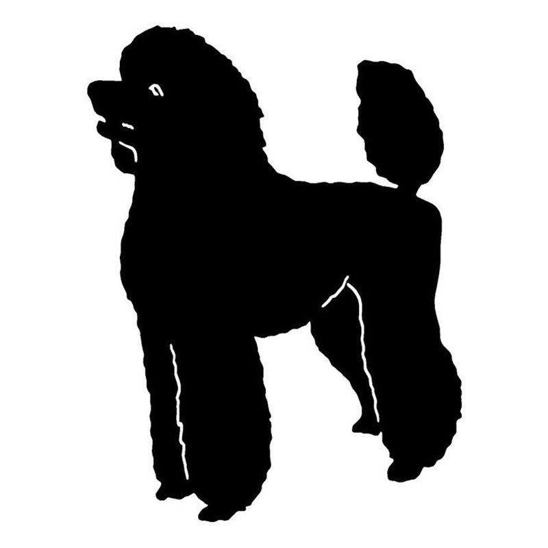 9.7*12.8CM Poodle Dog Car Tail Stickers Reflective Vinyl Decal Car Styling Truck Accessories Black/Silver S1-0961