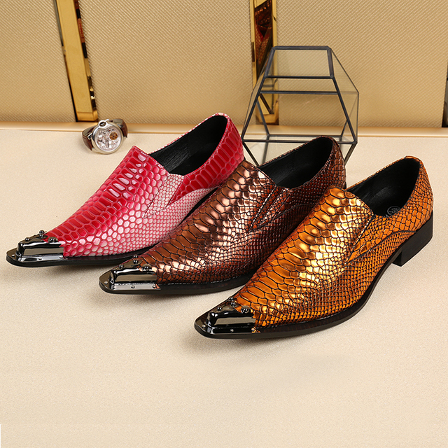 Italy Brand Luxury Fashion Men Party Wedding Shoes Handmade Loafers Men Snakeskin Leather Shiny Gold Dress Shoes Male Size 47