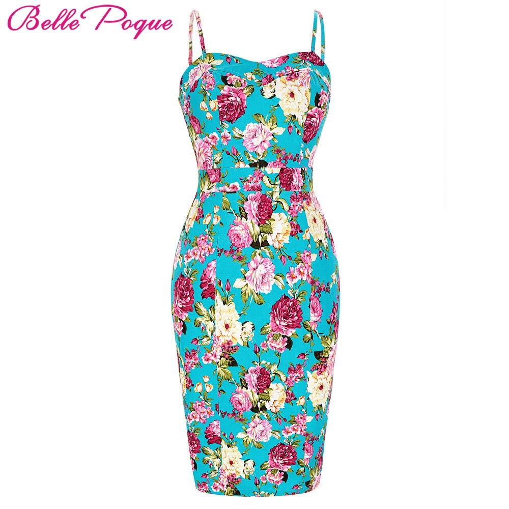 Mujeres de la impresión floral dress sexy summer bodycon vestidos del lápiz pinu