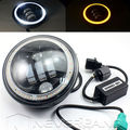 Black 5 3/4 5.75 Inch Motorcycle Projector LED Light Bulb Headlight With Halo Ring Angle Eye for Harley