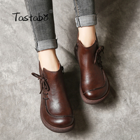 Tastabo 2018 Fashion Platform Boots Women Handmade Genuine Leather Ankle Boots for Women Soft Martin Shoes Ladies