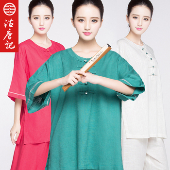 Flax Short Sleeve Tai Chi uniform Taiji Boxing Performance Clothing Autumn Summer linen Kung Fu  Suit  for women