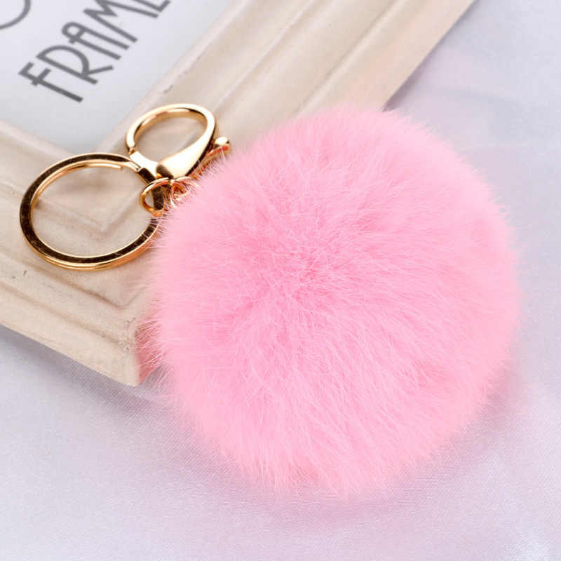 High Quality 15 Colors Rabbit Fur Keychain Ball Pendant PomPom for Car Handbag Keychain Gold Metal Charm Key Ring for women