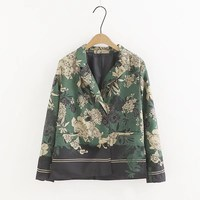 New Women Green Floral Suit Blazer Long Sleeve Thin Coat Spring Ladies Vintage Blazers Female Casual