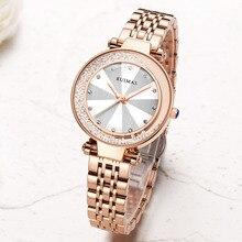купить Fashion Style Luxury Diamonds Ladies Watch Women Rose Gold Dress Quartz Watches Wristwatches Relogio Feminino Bracelet Clock по цене 1491.5 рублей