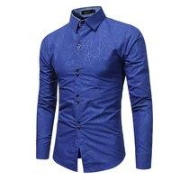 Brand 2017 Fashion Male Shirt Long Sleeves Tops 3D Geometric Printing Casual Shirt Business Mens Dress