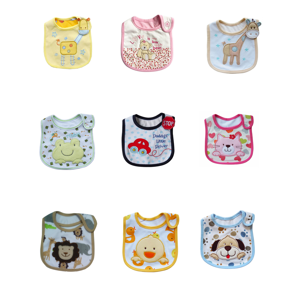Cute Cartoon Pattern Baby Cotton Bib Infant Waterproof Saliva Towel Bib Apron Burp Cloths Feeding Wear