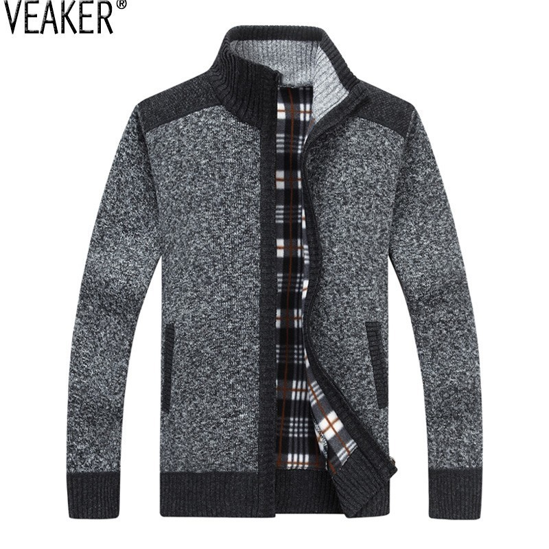 2019 Autumn Winter New Men's Thick Sweater Coat Male Patchwork Zipper Sweatercoat Outerwear Casual Slim Fit Sweaters Jacket 3XL