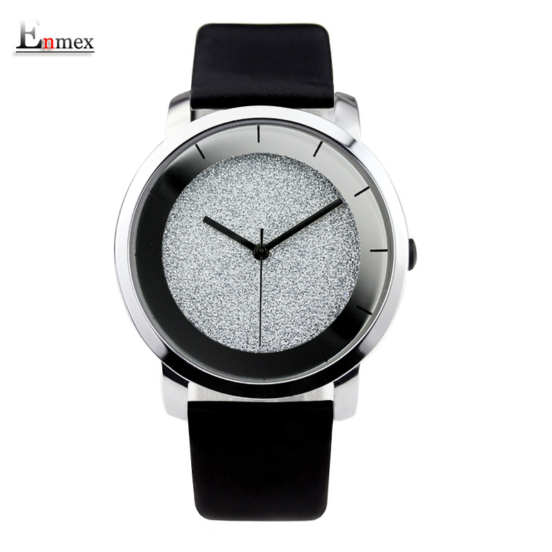 Ladies gift stylish watch Enmex creative design starlight with simple face mirror edge scale leather quartz fashion wristwatch 2017 gift enmex creative simple design brief face with a red pointer steel band water prof young and fashion quartz watch