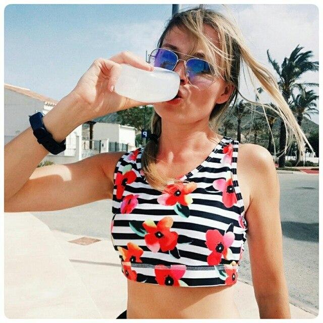 DUZUOLOVER frau Pro Padded Kompression Sport Bh Sportswear Spaghetti Printed Yoga Bh Top