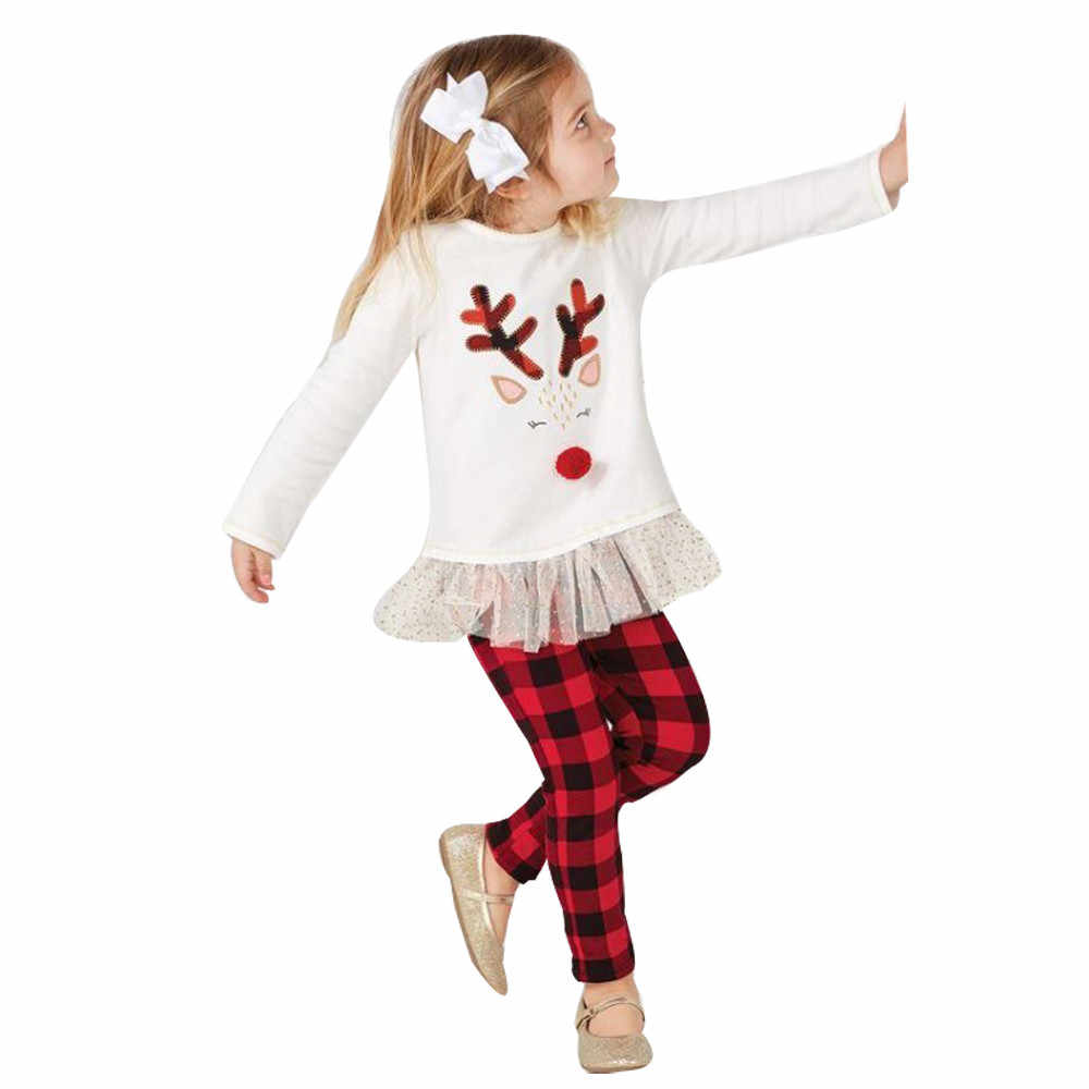 Toddler Kid Girl Clothes Long Sleeve Casual Cartoon Print Ruffle Top Plaid Pants Girls Outfits Kids Clothing For Girls Sets