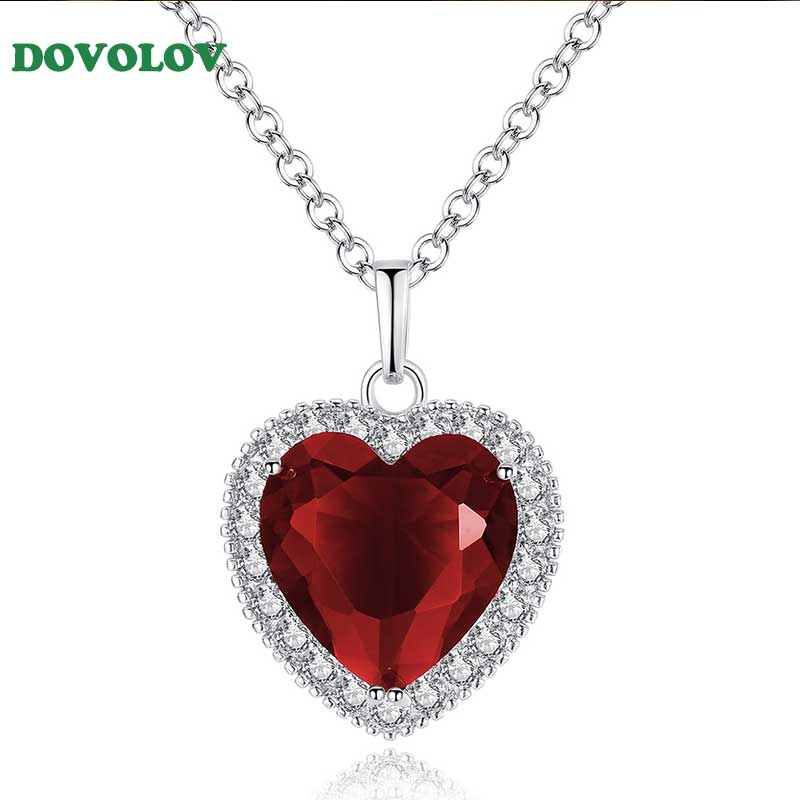 Dovolov Fashion Jewelry Romantic Red Crystal Necklace Titanic Heart Pendant Necklace for Women Girl Best Gift D3|Pendant Necklaces| - AliExpress