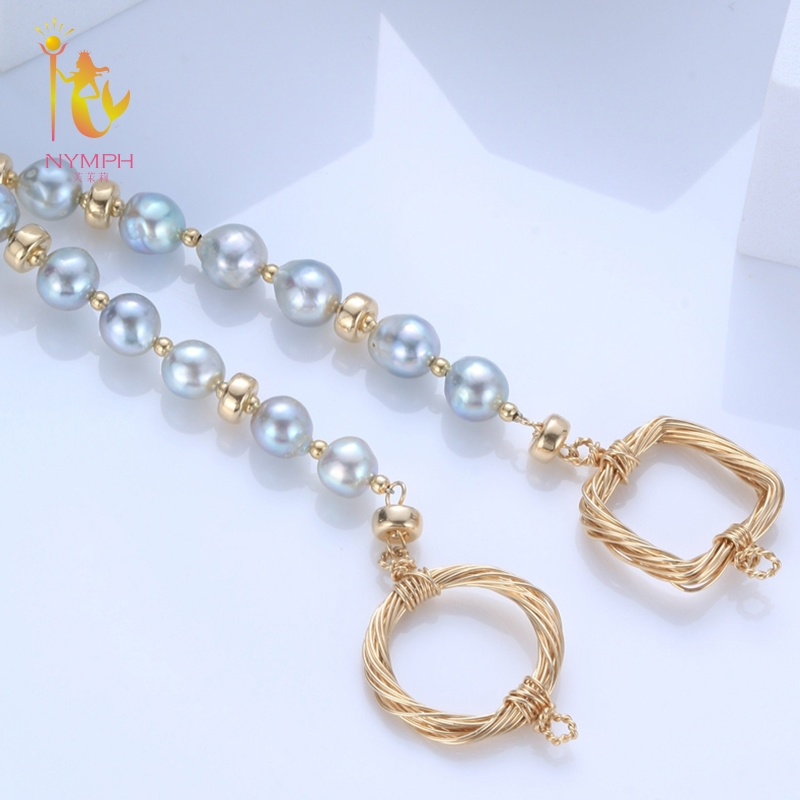 NYMPH Freshwater Pearl Bracelets Fine Jewelry Near Round Natural Pearl Bangles For Women White Trendy Anniversary Gift [S313] [zhixi] freshwater pearl necklace fine jewelry white real pearl necklace near round 7 8mm 45cm anniversary gift for women x118