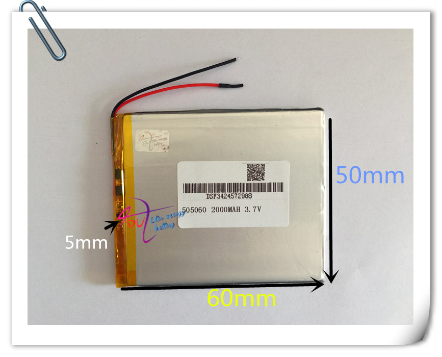 10 pièces 3.7 V 2000 mAh 505060 li-po Lithium polymère batterie Rechargeable pour PAD GPS PSP bricolage jeu vidéo tablette PC batterie externe E-Book