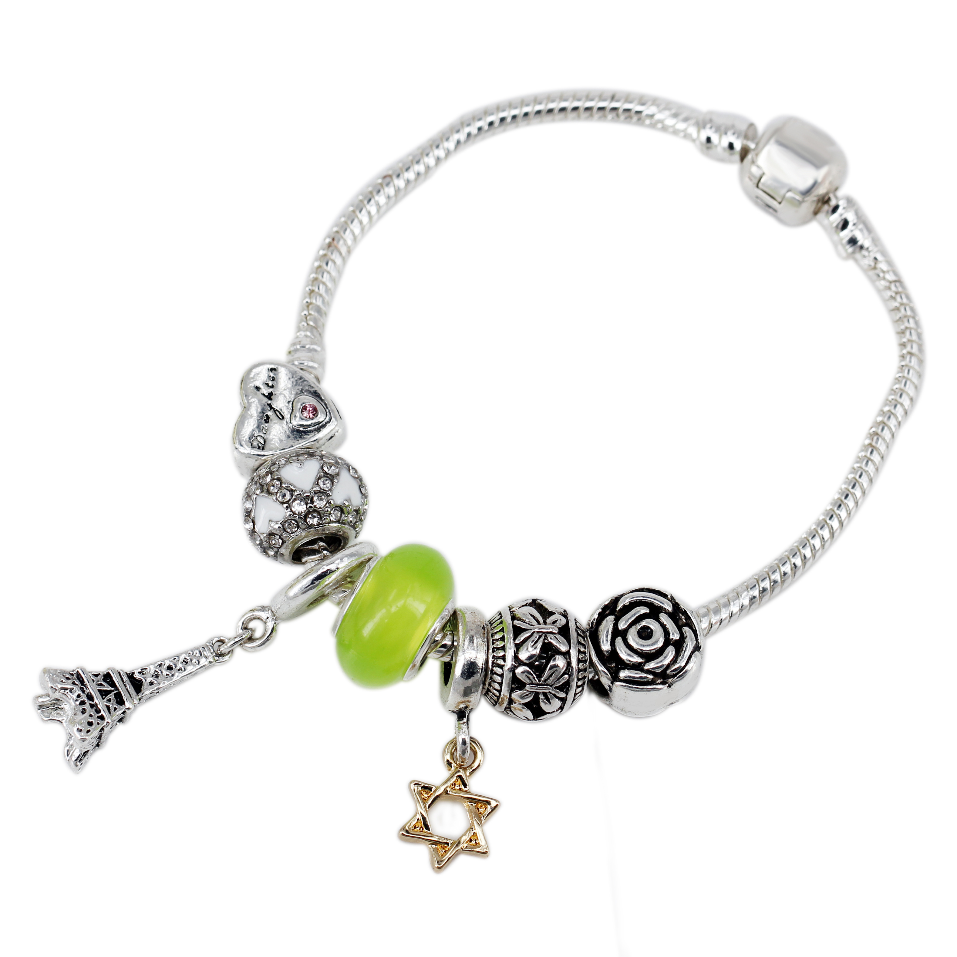 Newest Green Glass Paris Tower Hanging Cyrstal Heart Silver Plated Charms  Beads Fit Women Chain Bracelets