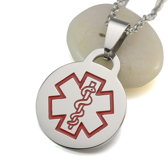 10pcslot silver tone red stainless steel medical alert id blank 10pcslot silver tone red stainless steel medical alert id blank round dog tag pendant aloadofball Image collections