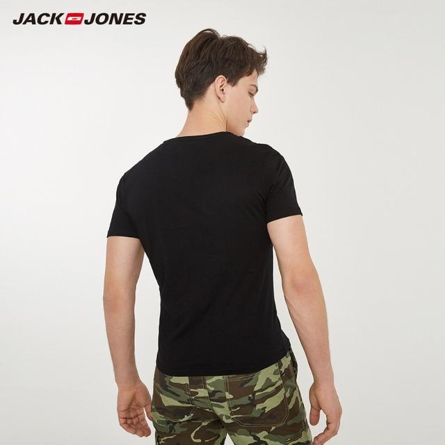 JackJones Men's Cotton T-shirt Solid Color Men's Top Fashion t shirt 2019 Brand New Menswear 2181T4517