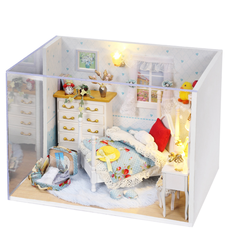 DIY DollHouse Miniature Model With 3D Furnitures Wooden Creative Handmade Doll house Toy Gifts Lovely Princess