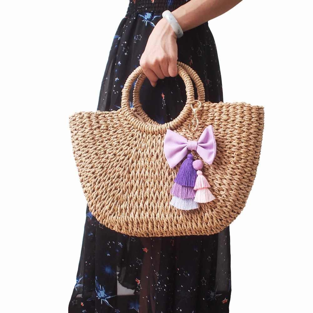 Manilai boêmio longo borla artesanal bowknot chaveiros feminino charme multicolorido algodão borlas carro chaveiro saco pingentes