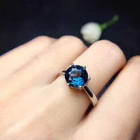 Fashion Simple round Natural London blue topaz Ring Natural gemstone Ring 925 Sterling Silver women's Party fine Ring Jewelry
